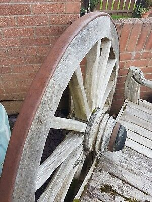 WOODEN CARTWHEEL- CART WAGON WHEEL LARGE (old bench)