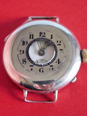 Antique Solid Silver Trench Watch Half Hunter Wristwatch -