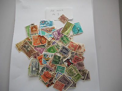 100 Used Postage Stamps From India Pk 3 No Doubles