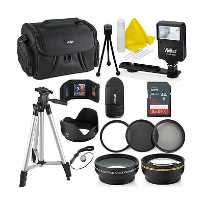 Professional 58MM Accessory Bundle Kit For Canon Rebel T6i T6 T6S T5 T5i T7 T...