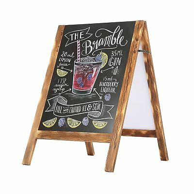 Rustic Wood A-Frame Double-Sided Chalkboard Sidewalk Sandwich Message Board S...