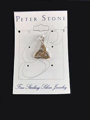 Celtic Trinity Charm Triquetra 925 Sterling Silver and 18k Gold by Peter Stone