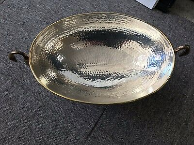 Decorative and Vintage Silver Plated Bowl with Swan Handles