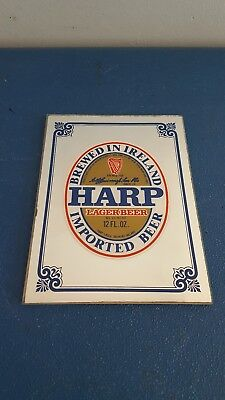 (VTG) 1997 Harp Beer small back bar mirror sign Guinness Brewery game room