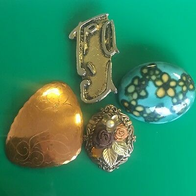 Small Job Lot Bundle of 4 vintage costume jewellery brooches -artisan copper etc