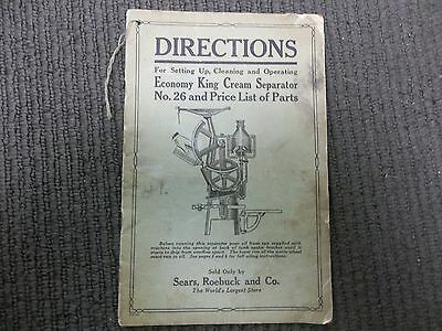 1928 Booklet of Directions King Cream Separators Sears Roebuck and Co.