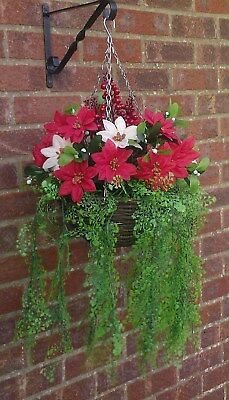 C/1  Christmas / Winter Ready To Hang Artificial Hanging Basket & Flowers