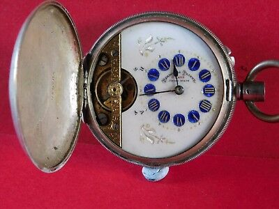ANTIQUE SOLID SILVER FULL HUNTER POCKET WATCH by HEBDOMAS PATANT 8 DAY