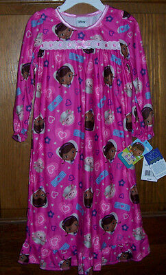 Disney Doc McStuffins LS Pink Flannel Granny Nightgown Toddler Girls 4T NWT