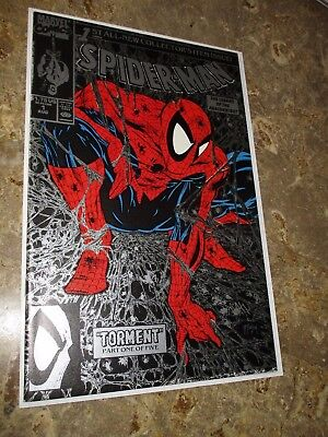 """1990 Marvel Comics Spider-Man #1 """"Torment"""" Cover by McFarlane (Silver Variant)"""