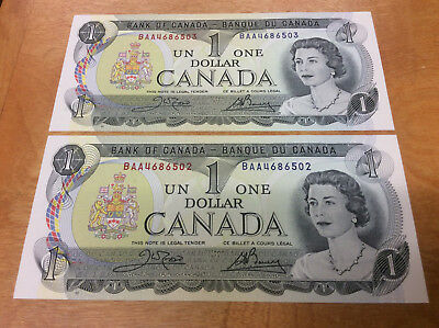 2-1973 $1 Gem Cu Consecutive Numbered Notes Bank Of Canada ~ Nice Looking!