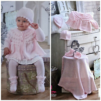 Baby KNITTING PATTERN Coat Bonnet Hat Mittens Bootees &Blanket DK King Cole 4945