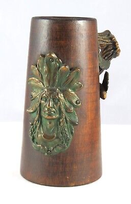 Arts & Crafts Style Vintage Wood Mug With Applied Copper Indian Chief