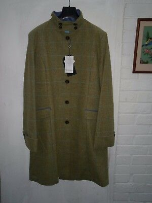 Oxford Blue Long Fitted Coat Size 16 Pure New Wool Length 40 Inches Light Green