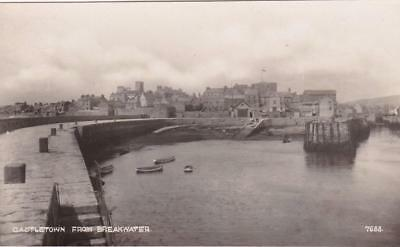 Rp Castletown Breakwater / Harbour Isle Of Man Real Photo Posted 1935