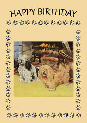 Lhasa Apso Two Dogs By Fire Dog Birthday Greetings Note Card
