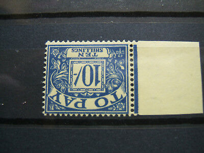1959 QE II 10/- Blue/Yell Postage Due. Watermark Multi Crowns Inverted.  MNH.