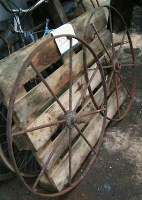 2 x XL metal cart wheels - architectural antique / vintage / garden  salvage