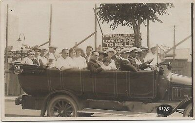 Tour Bus Charabanc Passengers And Driver Old Real Photo Postcard