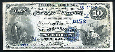 1882 $10 Db The State Nb Of St. Louis, Mo National Currency Ch. #5172 Xf