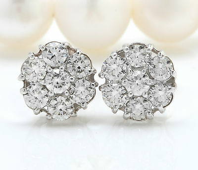 1.20CTW Natural SI1 / G-H Diamonds in 14K Solid White Gold Stud Earrings