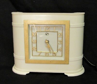 """VINTAGE """"ART DECO"""" WHITE BAKELITE CLOCK by SMITHS in very good working condition"""