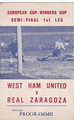 "WEST HAM v REAL ZARAGOZA 1964/5 ECWC, ""PIRATE "" ISSUE"