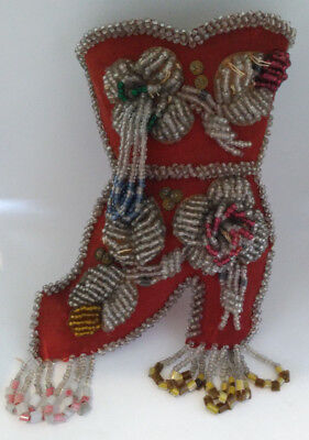 """Antique Iroquois Indian Beaded Boot Wall Pocket Whimsy 7 1/2"""" Native American"""