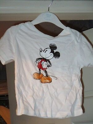 Disney Store Mickey Mouse White T Shirt Age 6 To 12 Months Brand New