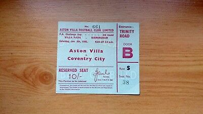 Ticket : 1964/1965 FA Cup 3rd Round Aston Villa v Coventry City .. Very Good