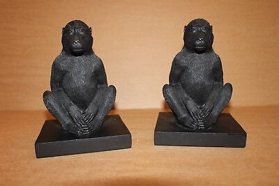 A Pair Black Monkey Book Ends