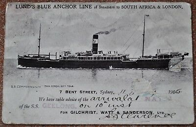 Lund's Line Blue Anchor Line S.S. Geelong rare arrival notification postcard