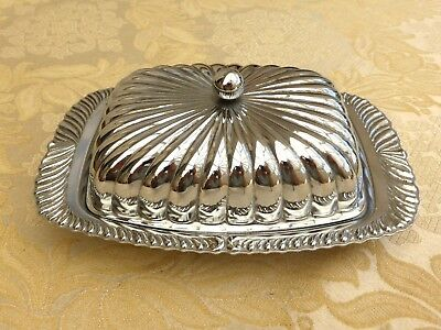 Vintage Fluted Butter Dish With Cover And Cut Glass Liner   #1310254/257