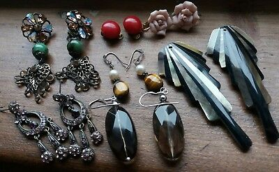 Vintage Modern M&S Rose Dangly Clip Silver Deco Glass Mother 'Pearl Earrings Lot