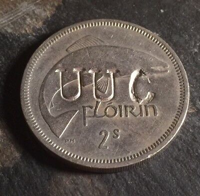 Irish Troubles Era Defaced 1964 Florin Eire Coin UUC Reverse Loyalist