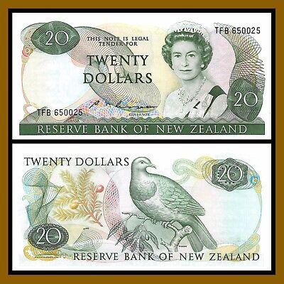 New Zealand 20 Dollars, ND 1985-1989 P173b S.T. Russel Queen Elizabeth II Unc