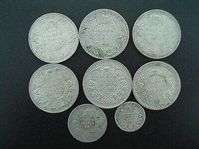 Lot of (8) British India Silver Coins 1/4, 1/2, & 1 Rupee Coins  1926-1944