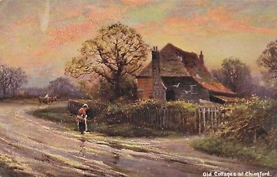 Postcard Old Cottages at Chingford Art Card by Hildesheimer