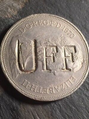 Irish Troubles Era Defaced 1970 British 10p Large Bold Strike UFF obverse