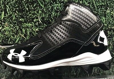 Brand New Under Armour Youth Hammer Mid Jr Cleats Black/White 1249796001