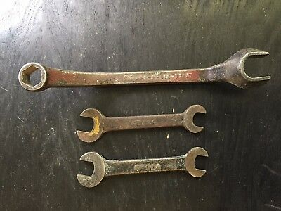 """Lot of 3 VINTAGE FORD SCRIPT TOOLS WRENCHES """"M"""" 01A-17017 Offset Open End Box"""