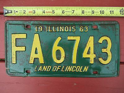 Vintage 1963 Illinois green & yellow John Deere LICENSE PLATE number FA6743