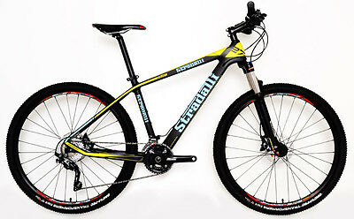 "L 19"" Stradalli Carbon Fiber Hardtail Bicycle Mtb Bike Blue Yellow 27.5"" 650B"