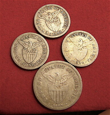 Philippines~~Lot of Four (4) Small Silver Coins----4 Coins