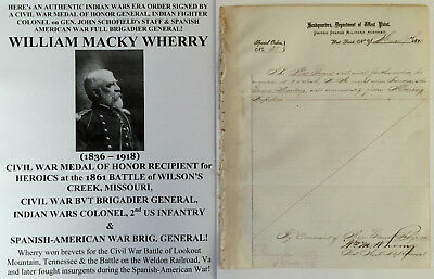 Civil War General Medal Honor Battle Wilsons Creek Document Signed Indian Wars !
