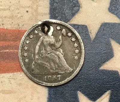 1857 5C Seated Liberty Half Dime 90% Silver Vintage US Coin #AX24