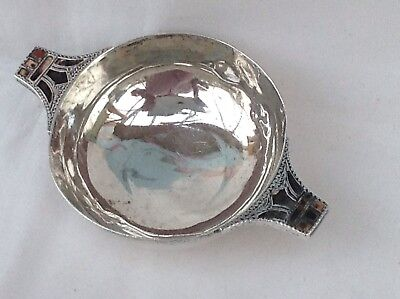 A Solid Silver Scottish Quaich With Agates, 1921 A/F