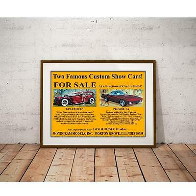 Famous Custom Cars For Sale Poster - Monogram Li'l Coffin & Predicta Bubble Top