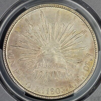 Peso 1903-Mo AM PCGS MS62 Mexico Choice UNC Great Luster Silver Coin