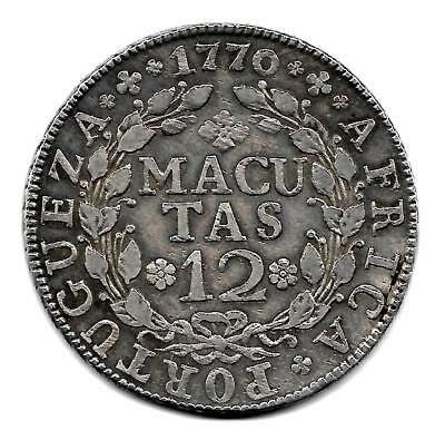 Angola 12 macutas silver 1770 better Very Fine Old Portuguese Colony Very Rare..